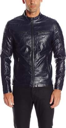 GUESS Men's Lightweight Faux Leather Moto Jacket