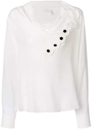Chloé scalloped cowl neck blouse