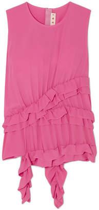 Marni Ruffled Crepe De Chine Top - Pink