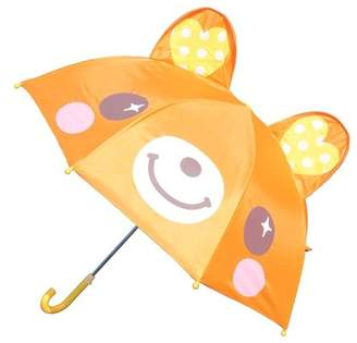 JuJu Smiling Toddler Little Kid Boys or Girls Cute Zoo Pop-up Umbrella, Orange Bear Newnew