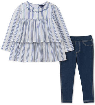 3a639f291cb728 Calvin Klein Toddler Girls 2-Pc. Striped Ruffle Cotton Tunic   Leggings Set