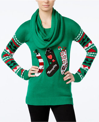 Planet Gold Juniors' Stockings Holiday Sweater with Scarf $49 thestylecure.com