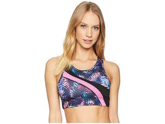 Jessica Simpson TheWarmUp Printed Asymmetrical Sports Bra Women's Bra