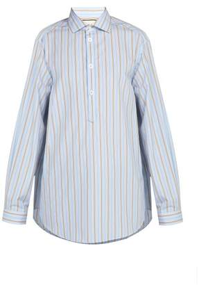 Gucci Oversized Striped Cotton Shirt - Mens - Light Blue