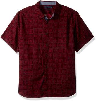 Nautica Men's Standard Short Sleeve Print Button Down Shirt