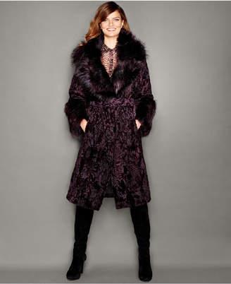 The Fur Vault Fox-Fur-Trim Swakara Lamb Fur Coat $5,595 thestylecure.com