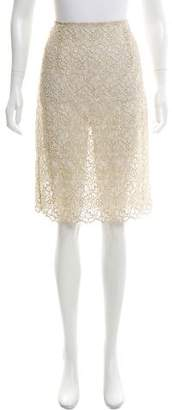 Valentino Metallic-Accented Lace Skirt