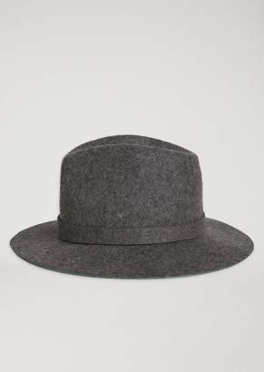 Emporio Armani Pure Wool Fedora Hat With Logo Rivet
