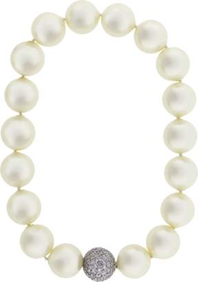 FANTASIA JEWELRY Pearl With Cubic Zirconia Pave Ball Necklace