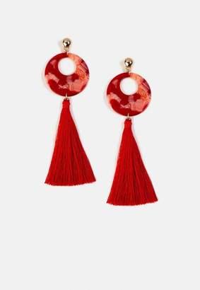 Missguided Silver Look Red Resin Tassel Drop Earrings