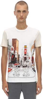 Lanvin Printed Cotton T-shirt W/knit Sleeves