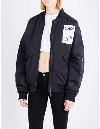 Boy London Ladies Black Tape-Print Shell Bomber Jacket