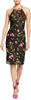 Marchesa Halter Floral-Embroidered Guipure Lace Dress w/ Cutout Back & 3D Flowers