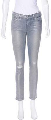7 For All Mankind Low-Rise Metallic Jeans
