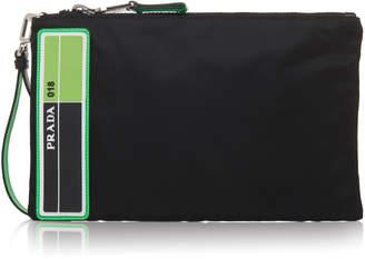 Prada Fouou Green And Black Nylon Zip Pouch