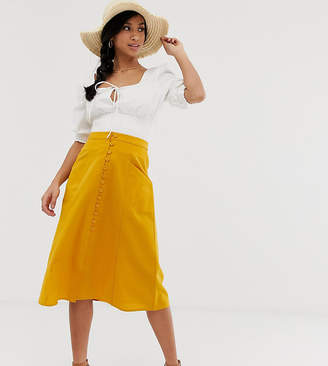 c20f3f1e137 Asos DESIGN Petite midi skirt with button front