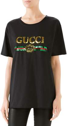 Gucci Sequin Tiger Logo Tee