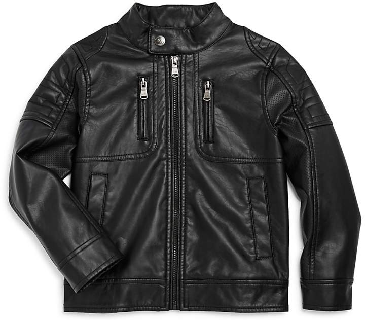 Boys' Faux-Leather Moto Jacket - Little Kid