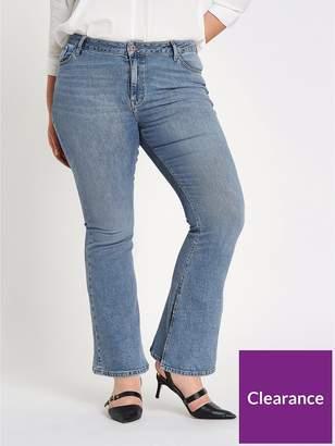 River Island RI Plus Marnie Flare Split Denim Jeans - Blue