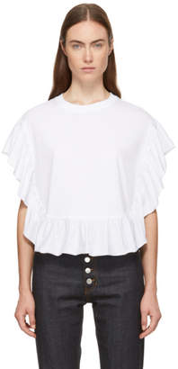 See by Chloe White Ruffle T-Shirt