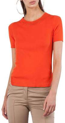 Akris Punto Round-Neck Short-Sleeve Knit Top with Crochet Trim