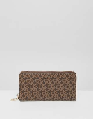 DKNY bryant logo ziparound wallet in mocha