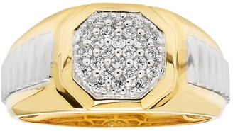 Men's Two Tone Sterling Silver 1/4 Carat T.W. Diamond Octagon Ring