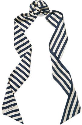 Striped Silk-twill Scarf - Navy