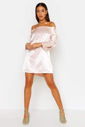 boohoo Satin Eyelet Lace Up Shift Dress