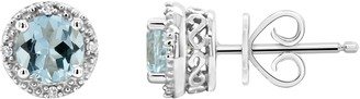 Sterling Birthstone Fancy Stud Earrings with Diamond Accents