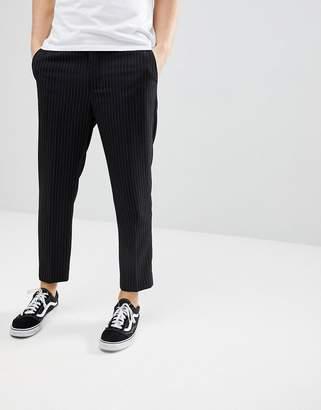Bershka Cropped Pants In Black PinStripe