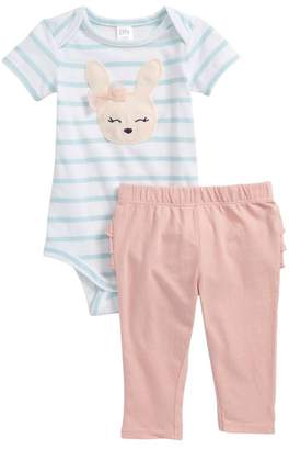 Nordstrom Stripe Bodysuit & Ruffle Leggings Set (Baby Girls)