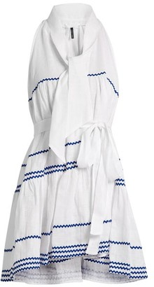 Lisa Marie Fernandez Rickrack Trimmed Linen Mini Dress - Womens - White Multi