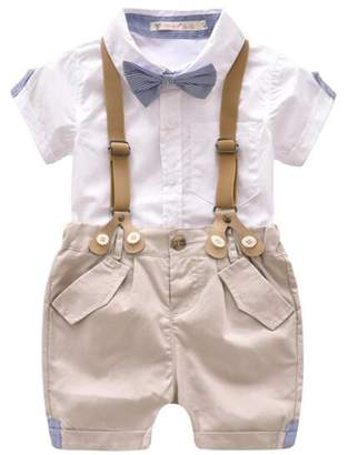 BANGELY Kids Baby Boys Gentleman Bowtie Short Sleeve Shirt +Suspenders Shorts Patns Set size
