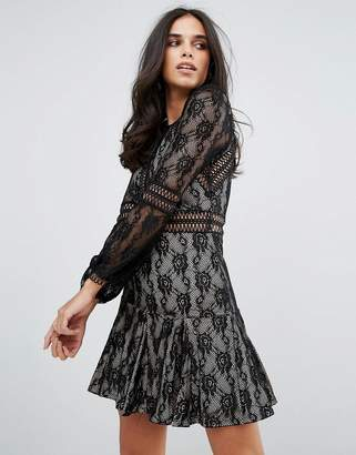 Forever Unique Lace Long Sleeve Smock Dress