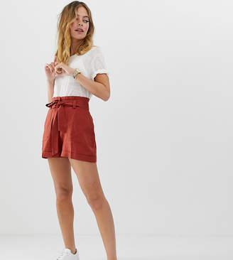 a037c001ec Asos DESIGN Petite linen tie waist shorts