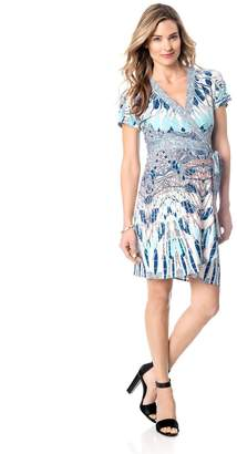 BCBGMAXAZRIA Printed Maternity Wrap Dress