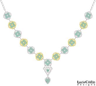 Swarovski Handmade in USA Y Necklace by Lucia Costin Crafted in .925 Sterling Silver with 24K Yellow Gold Plated over .925 Sterling Silver with Crystals and Filigree Elements, Adorned with and Fancy Charm