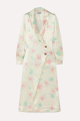 Ganni Floral-print Satin Wrap Dress - Cream