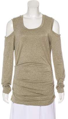 Nicole Miller Metallic Cold-Shoulder Top