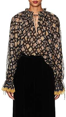 Ulla Johnson Women's Nailah Silk-Blend Fil Coupé Blouse - Navy