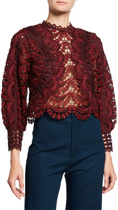 Sea Rosalie Embroidered Lace Long-Sleeve Blouse