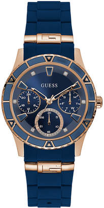 GUESS Women Blue Silicone Strap Watch 38mm