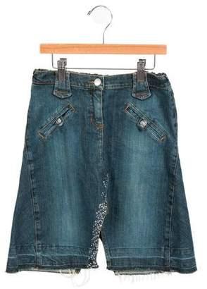 Miss Blumarine Girls' Embellished Denim Skirt