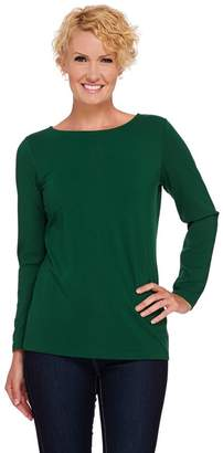 Susan Graver Essentials Cotton Modal Long Sleeve Bateau Neck Top