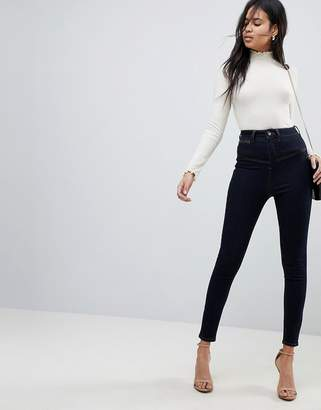 Asos DESIGN RIDLEY High Waist Skinny Jeans With Corset Detail in Indigo