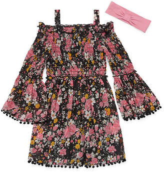 EMILY WEST Emily West 3/4 Sleeve Bell Sleeve Floral A-Line Dress Girls