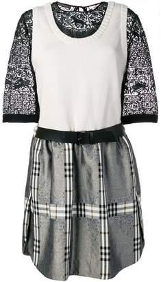 Alberta Ferretti contrast check dress