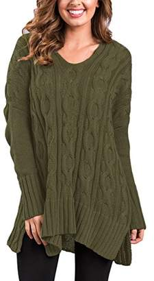 Actloe Women V Neck Knit Sweater Long Sleeve Pullover Top