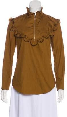 Nina Ricci Long Sleeve Ruffle-Trimmed Top